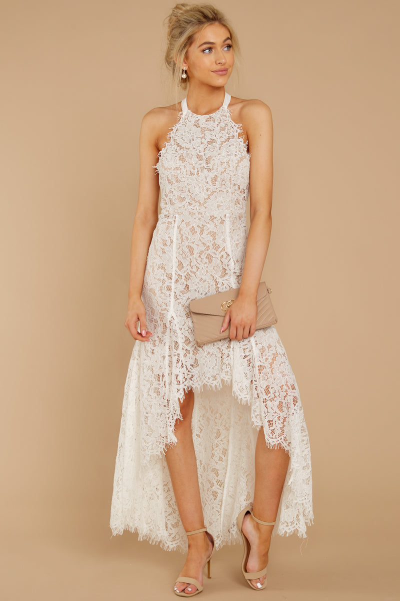 6 Strive For It White Lace High-Low Dress at reddressboutique.com