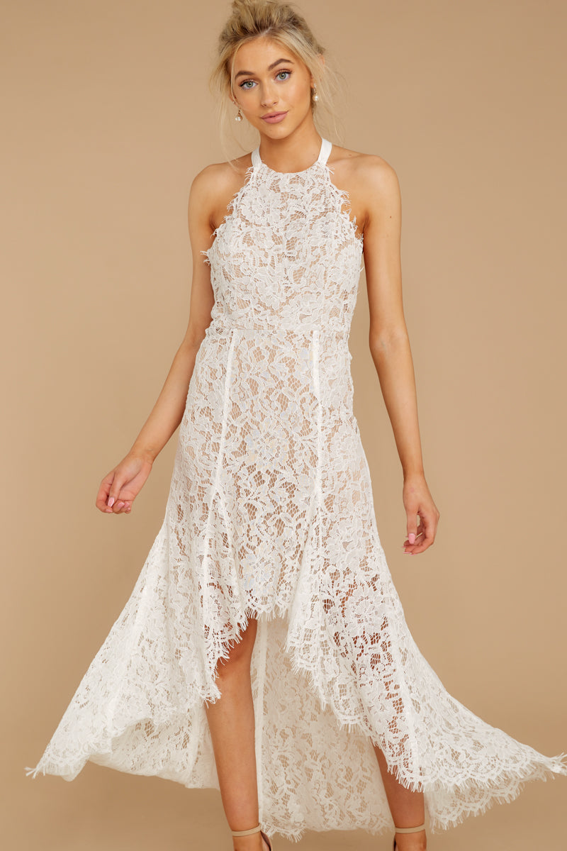 7 Strive For It White Lace High-Low Dress at reddressboutique.com