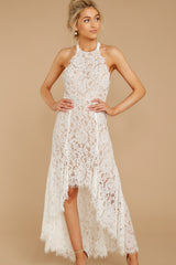 8 Strive For It White Lace High-Low Dress at reddressboutique.com