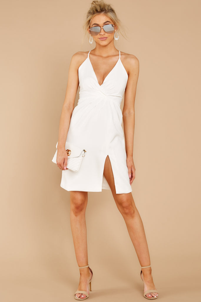 1 She's Arrived White Wrap Dress at reddressboutique.com