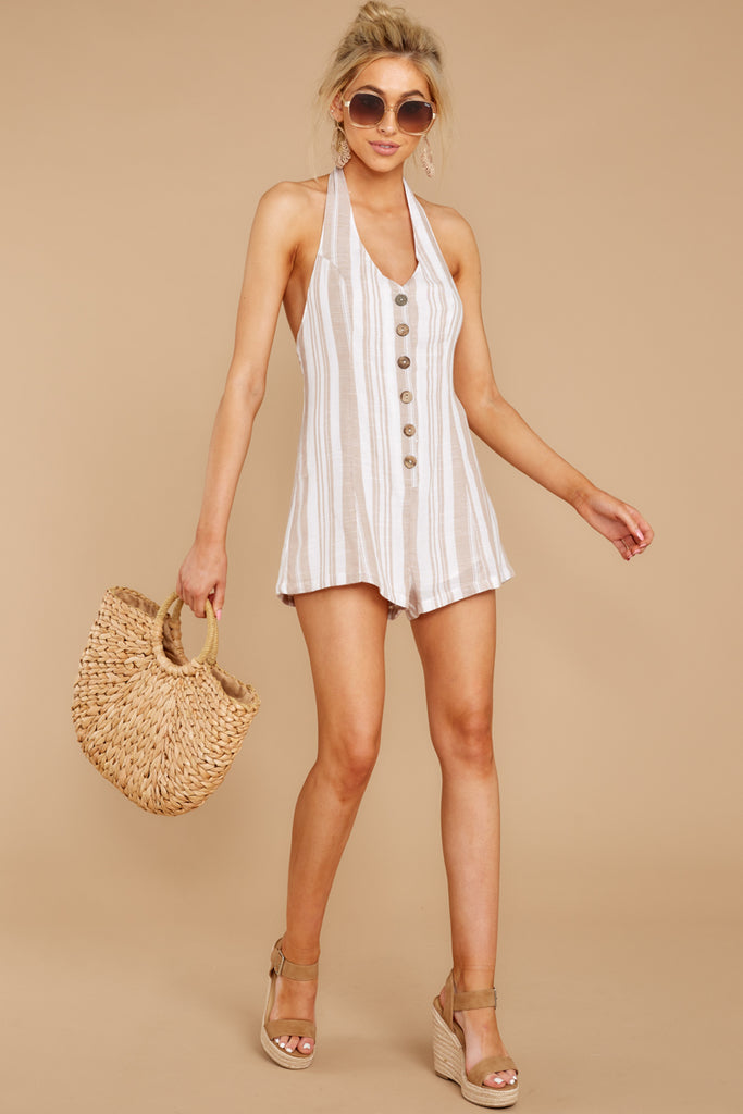 1c0c90bce5a Out Free White And Taupe Stripe Romper