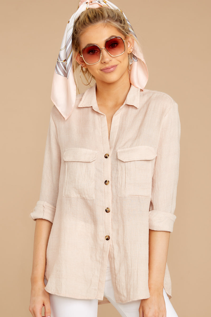 Start New Dusty Pink Button Up Top