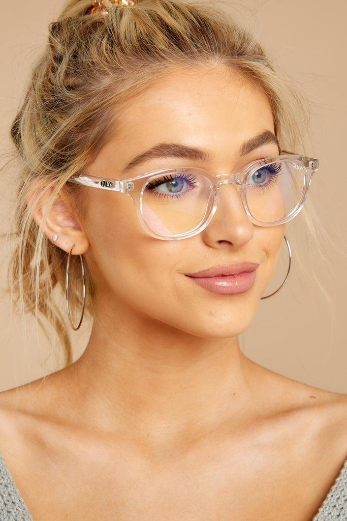 1 Cheat Sheet Silver Clear Blue Light Glasses at reddressboutique.com