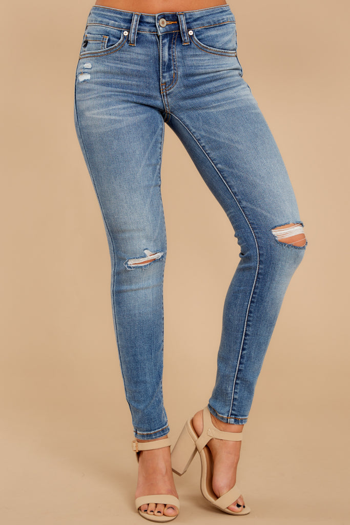 1 Won't Be Ignored Medium Wash Distressed Skinny Jeans at reddressboutique.com