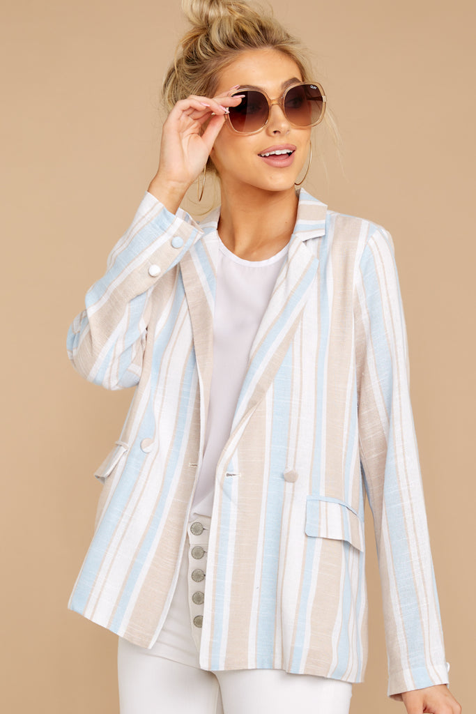 1 Feel The Vibe Pink Multi Stripe Jacket at reddressboutique.com