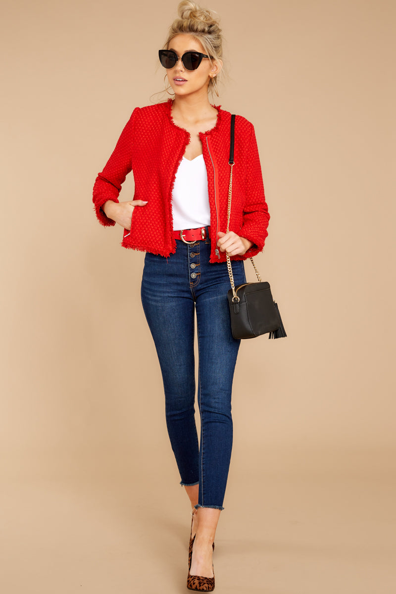 2 All The Class Red Tweed Jacket at reddressboutique.com