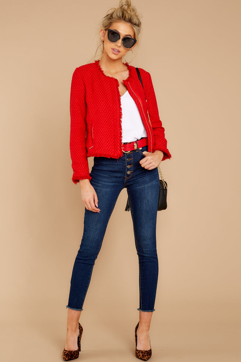 3 All The Class Red Tweed Jacket at reddressboutique.com