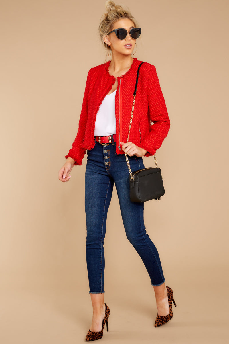 4 All The Class Red Tweed Jacket at reddressboutique.com