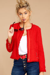 1 All The Class Red Tweed Jacket at reddressboutique.com