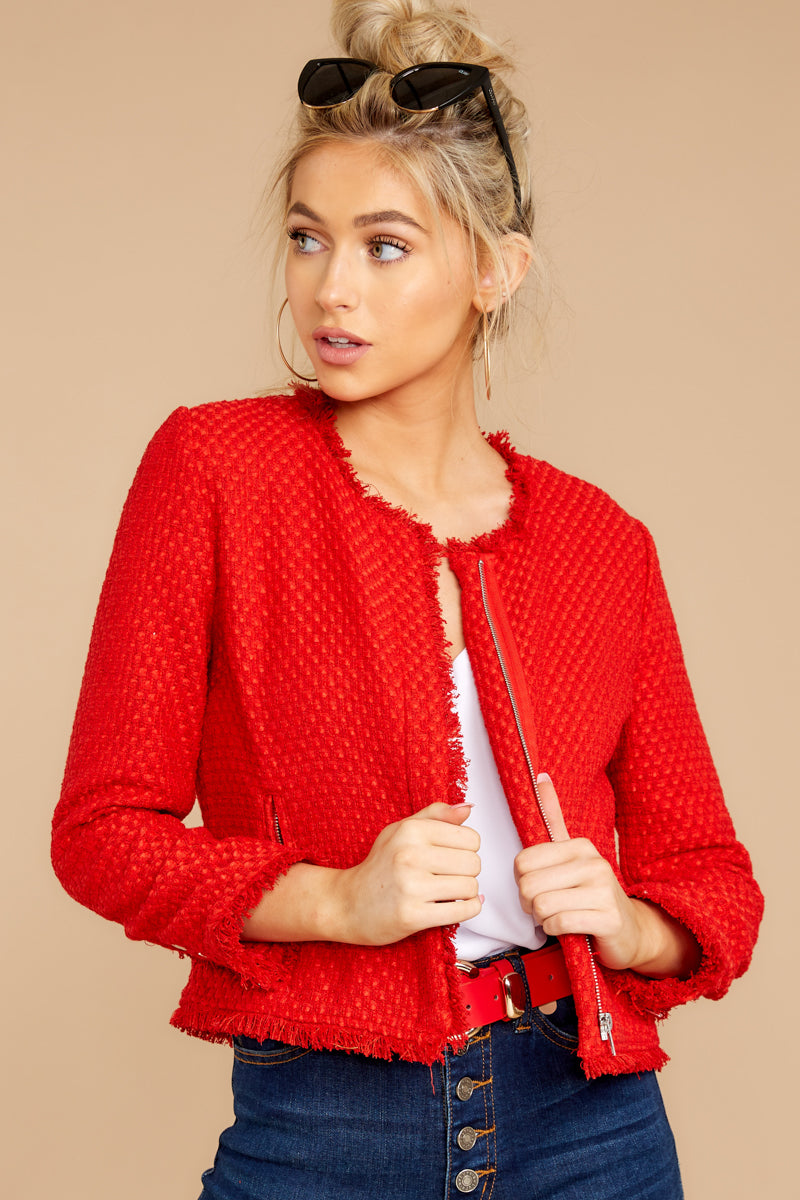 5 All The Class Red Tweed Jacket at reddressboutique.com