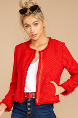 6 All The Class Red Tweed Jacket at reddressboutique.com