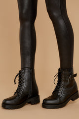 2 They Say Black Lace Up Combat Boots at reddressboutique.com