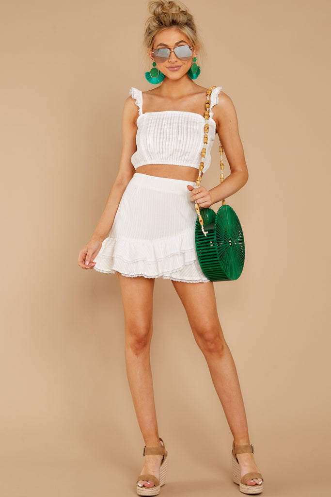 1 Dainty As A Daisy White Two Piece Set at reddressboutique.com