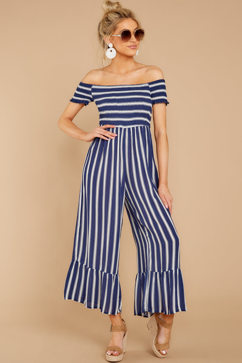 4bbecfdb574 Charming Blue Striped Jumpsuit - Wide Leg Jumpsuit - Playsuit ...