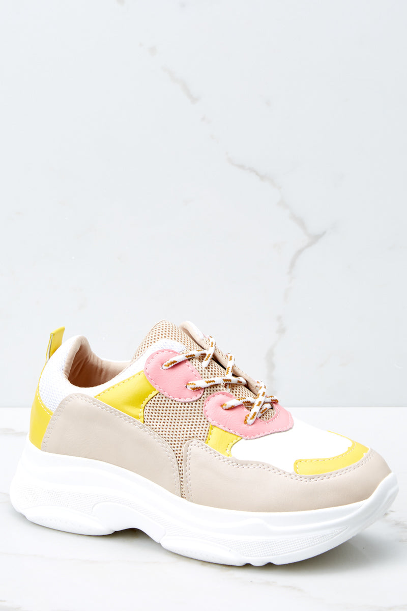 1 Quick To It Sneakers In Yellow And Pink at reddressboutique.com