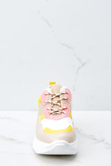 2 Quick To It Sneakers In Yellow And Pink at reddressboutique.com