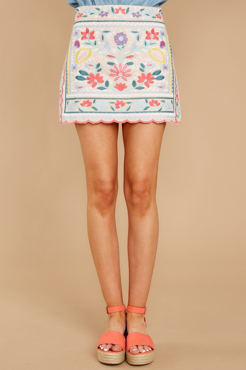 2 The Rational Choice White Embroidered Floral Skirt at reddress.com