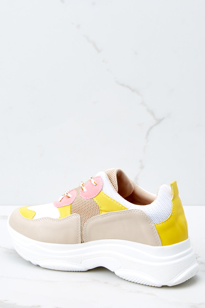 3 Quick To It Sneakers In Yellow And Pink at reddressboutique.com