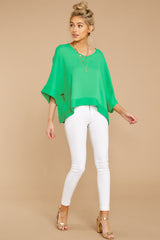 2 If I'm Honest Kelly Green Top at reddressboutique.com