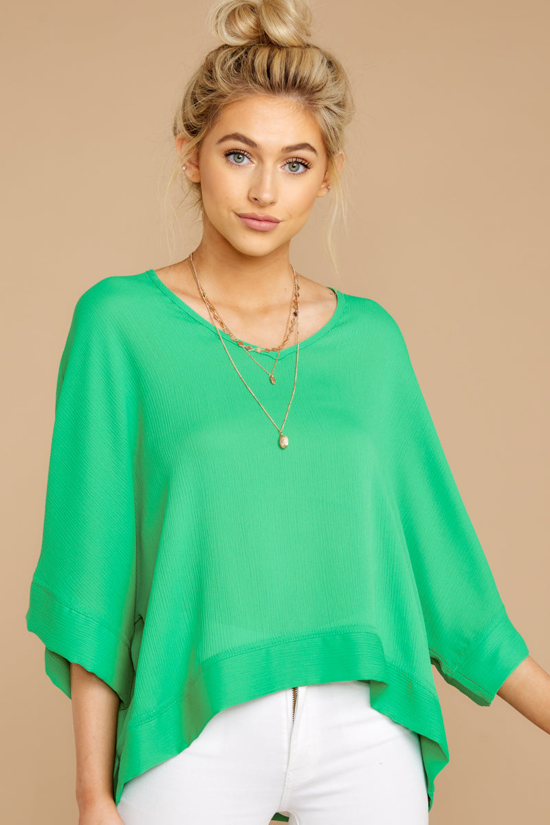 3 If I'm Honest Kelly Green Top at reddressboutique.com