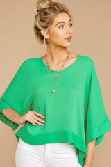 4 If I'm Honest Kelly Green Top at reddressboutique.com
