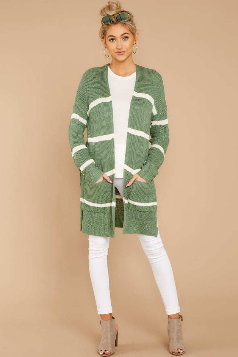 1 Back To Last Night Aspen Green Stripe Cardigan at reddressboutique.com