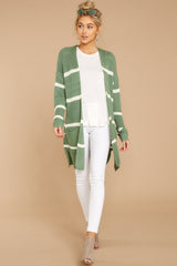 2 Back To Last Night Aspen Green Stripe Cardigan at reddressboutique.com