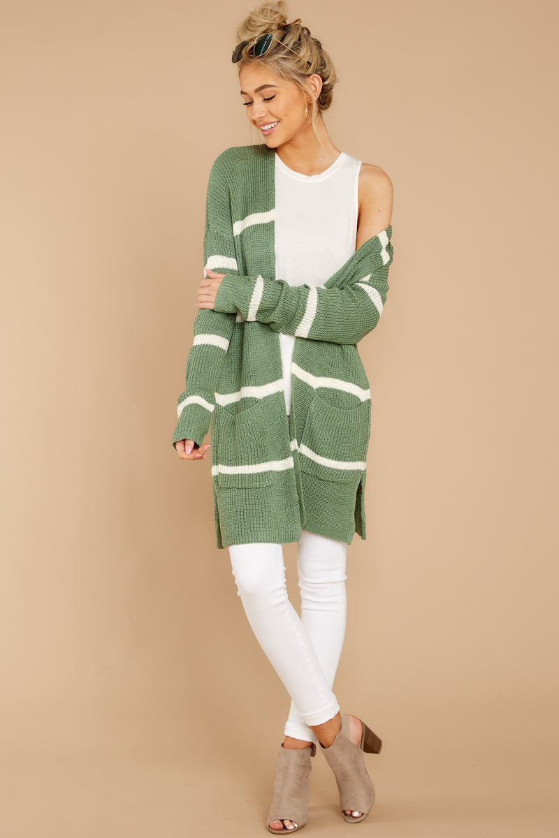 3 Back To Last Night Aspen Green Stripe Cardigan at reddressboutique.com