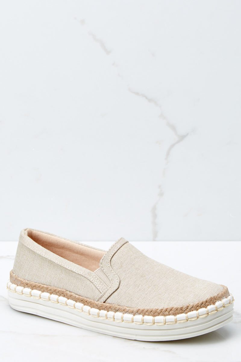 1 Going Anywhere Beige Slip On Sneakers at reddressboutique.com