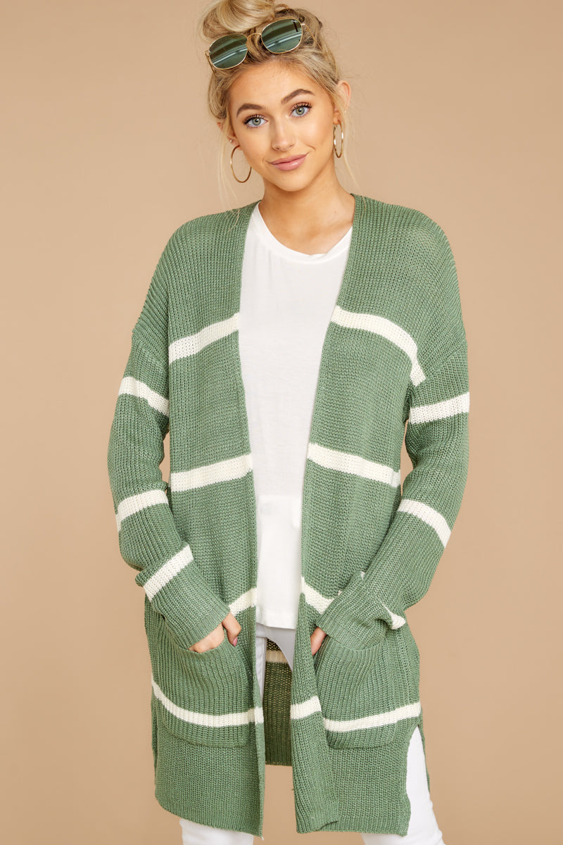 4 Back To Last Night Aspen Green Stripe Cardigan at reddressboutique.com