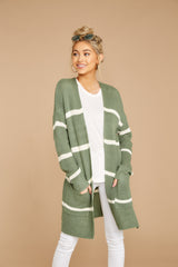 5 Back To Last Night Aspen Green Stripe Cardigan at reddressboutique.com