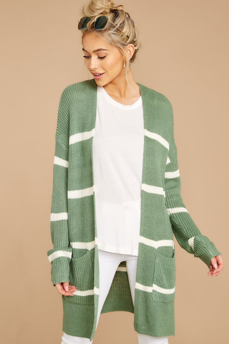 6 Back To Last Night Aspen Green Stripe Cardigan at reddressboutique.com