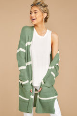 7 Back To Last Night Aspen Green Stripe Cardigan at reddressboutique.com