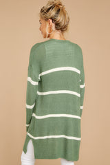 8 Back To Last Night Aspen Green Stripe Cardigan at reddressboutique.com