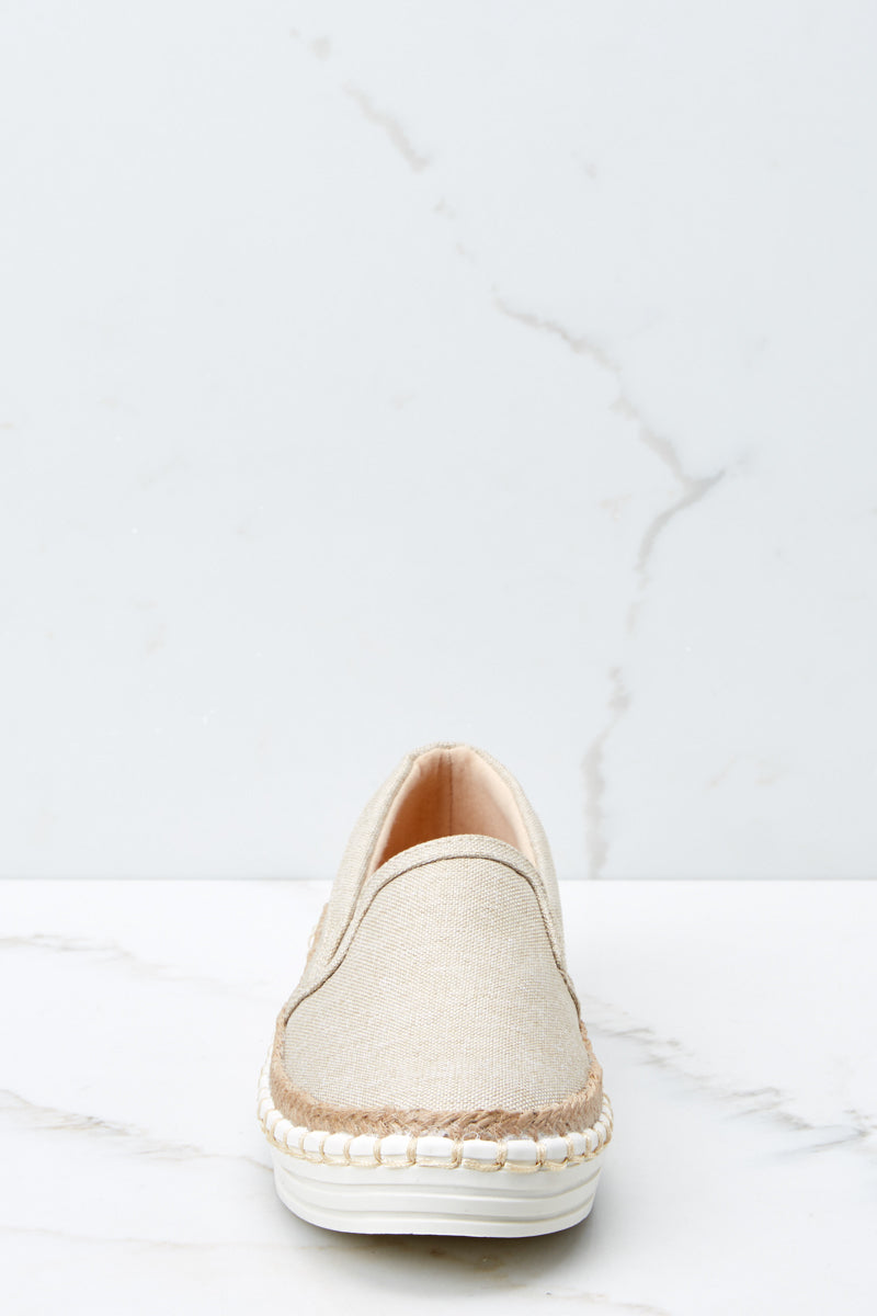 2 Going Anywhere Beige Slip On Sneakers at reddressboutique.com