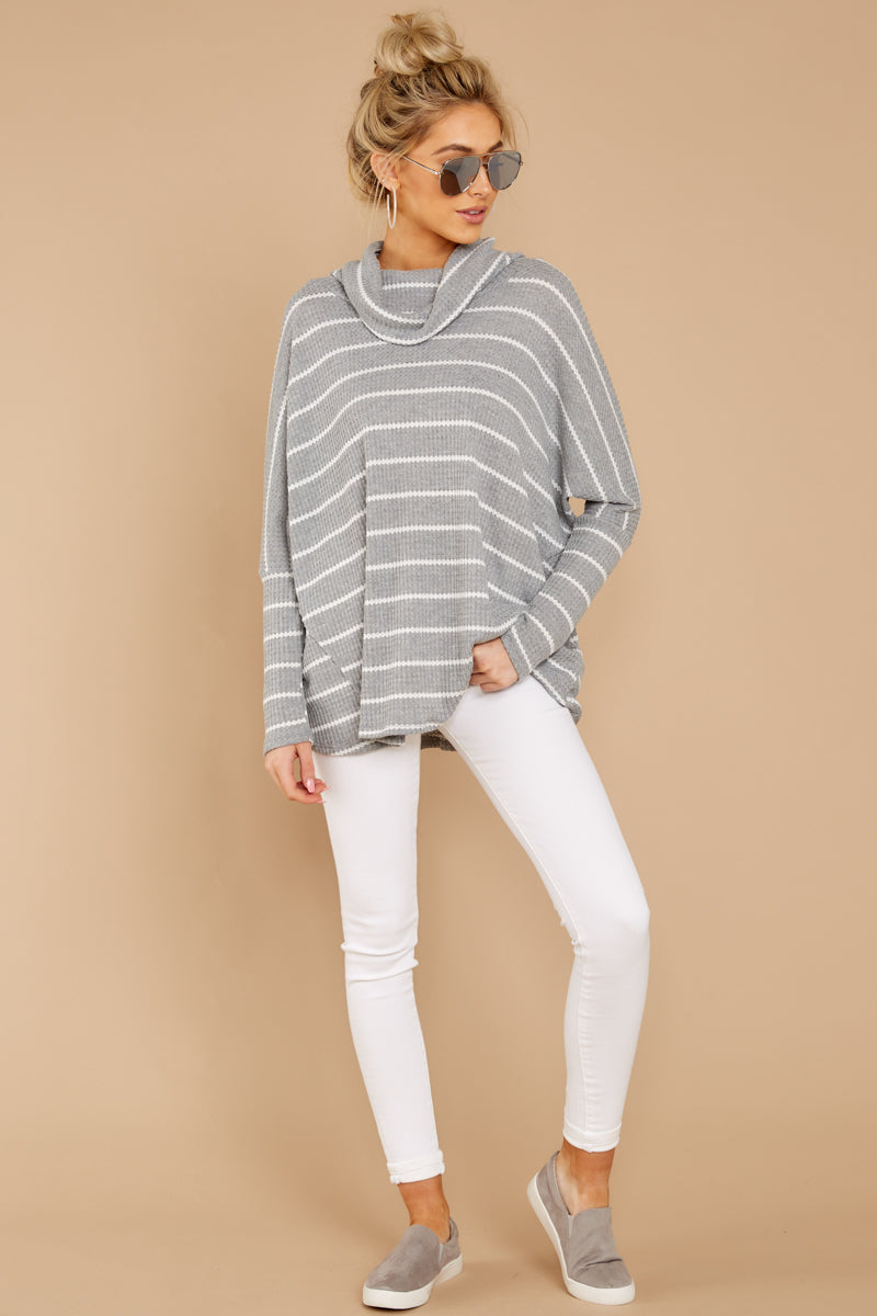 2 On My Life White And Grey Stripe Top at reddressboutique.com