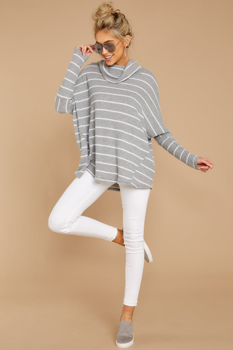 3 On My Life White And Grey Stripe Top at reddressboutique.com