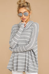 4 On My Life White And Grey Stripe Top at reddressboutique.com