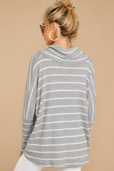 5 On My Life White And Grey Stripe Top at reddressboutique.com