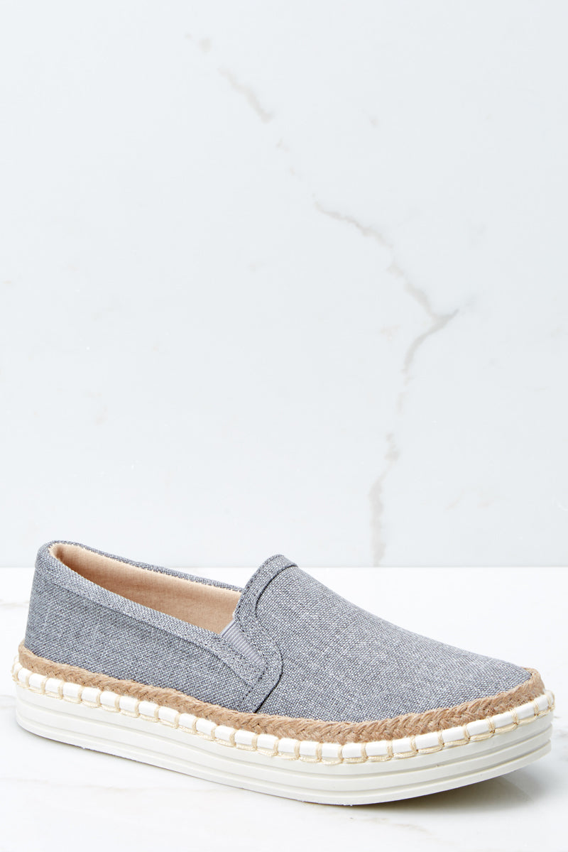 1 Going Anywhere Grey Slip On Sneakers at reddressboutique.com