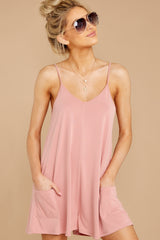 3 Every Time I Think About You Mauve Pink Romper at reddressboutique.com