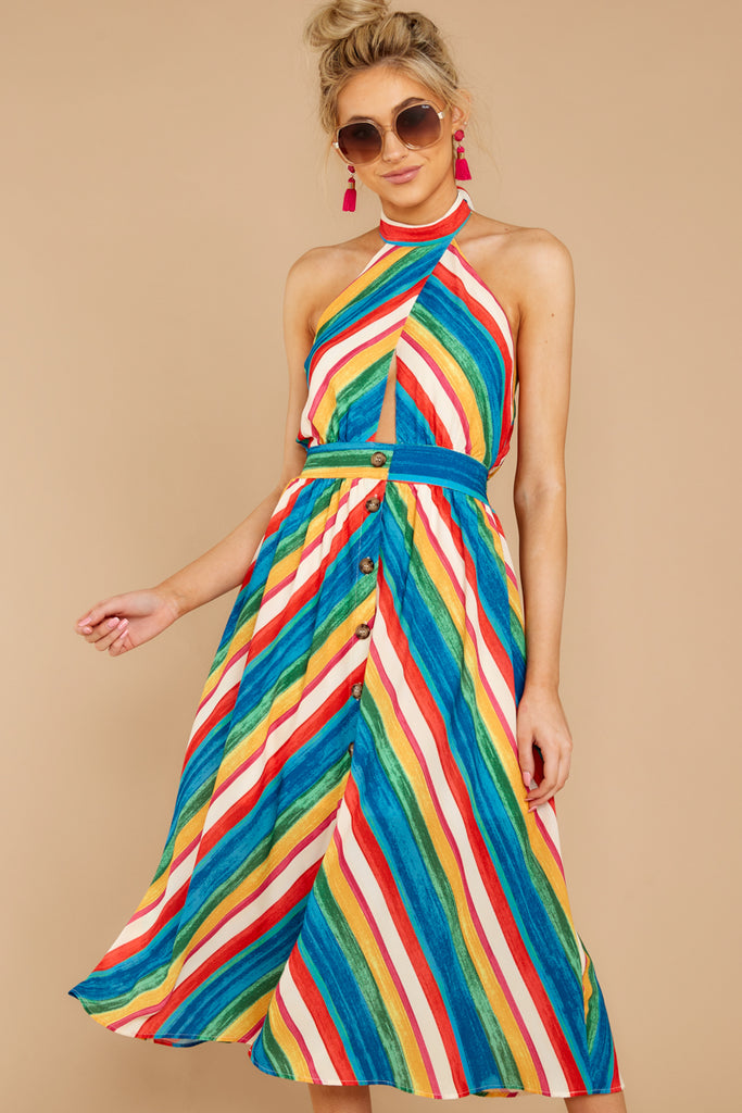 1 Bypass The Mainstream Pink Multi Print Midi Dress at reddressboutique.com