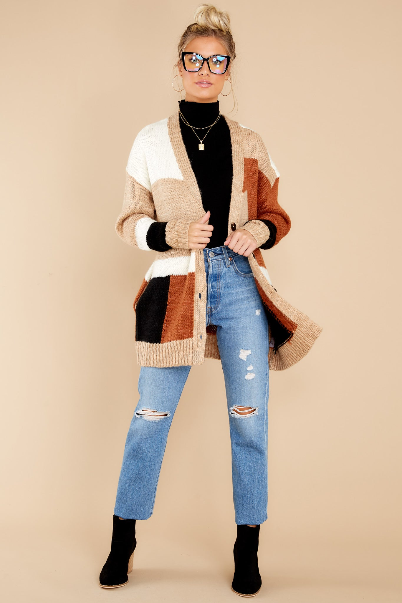 90s Clothing Outfits You Can Buy Now Read Your Mind Camel Colorblock Cardigan Beige $58.00 AT vintagedancer.com