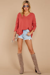 1 Pep Talks Terra Cotta Waffle Knit Top at reddressboutique.com