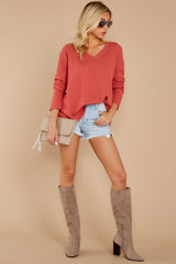 2 Pep Talks Terra Cotta Waffle Knit Top at reddressboutique.com