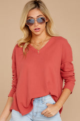 4 Pep Talks Terra Cotta Waffle Knit Top at reddressboutique.com
