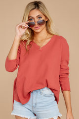 5 Pep Talks Terra Cotta Waffle Knit Top at reddressboutique.com