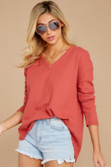 6 Pep Talks Terra Cotta Waffle Knit Top at reddressboutique.com