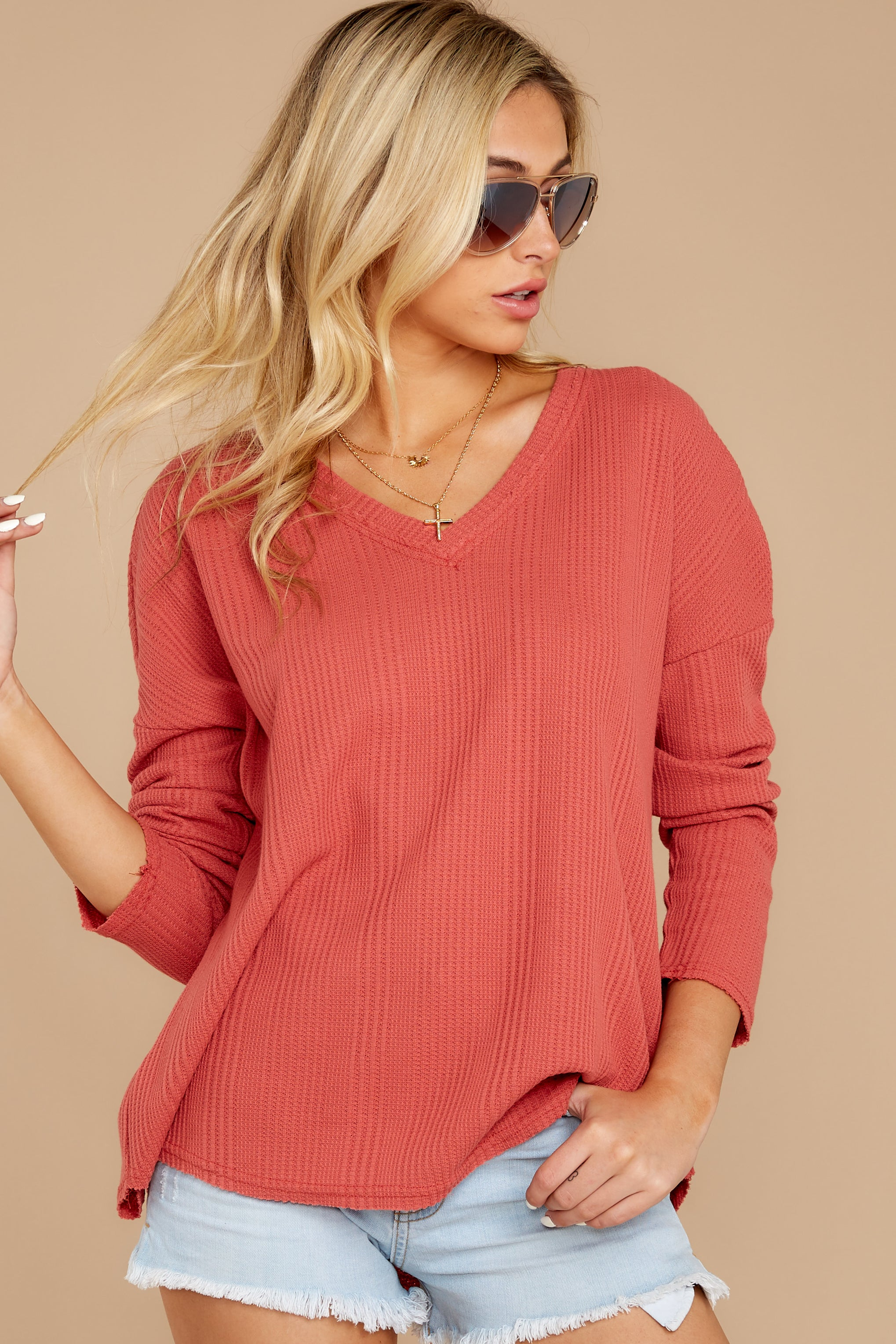 7 Pep Talks Terra Cotta Waffle Knit Top at reddressboutique.com