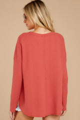 8 Pep Talks Terra Cotta Waffle Knit Top at reddressboutique.com